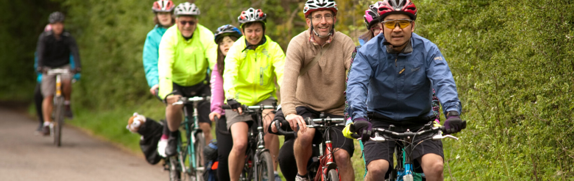 Group tandem ride with visually impaired and disabled people