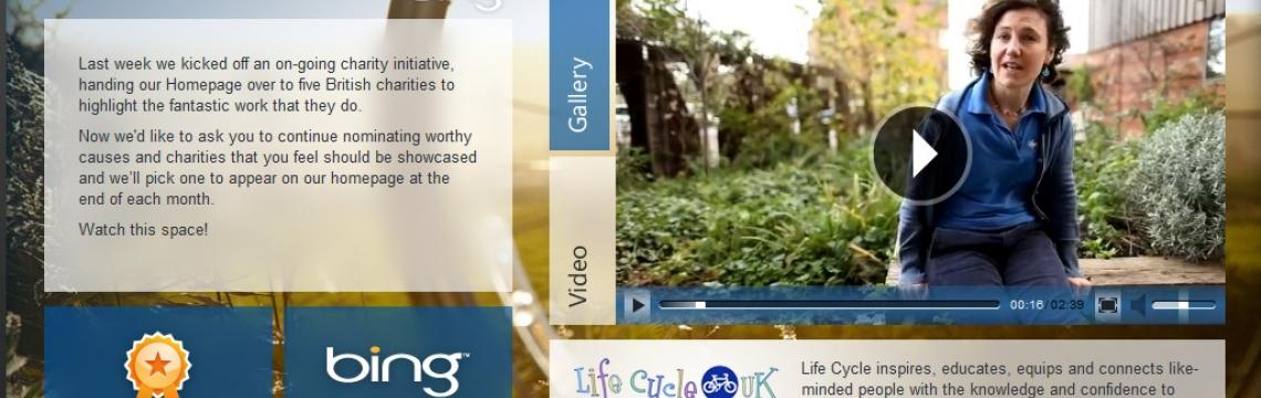 Life Cycle UK appears on Microsoft Bing's Help Your Britain Campaign